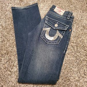 True Religion Joey Sequin Pocket Flare Jeans 26